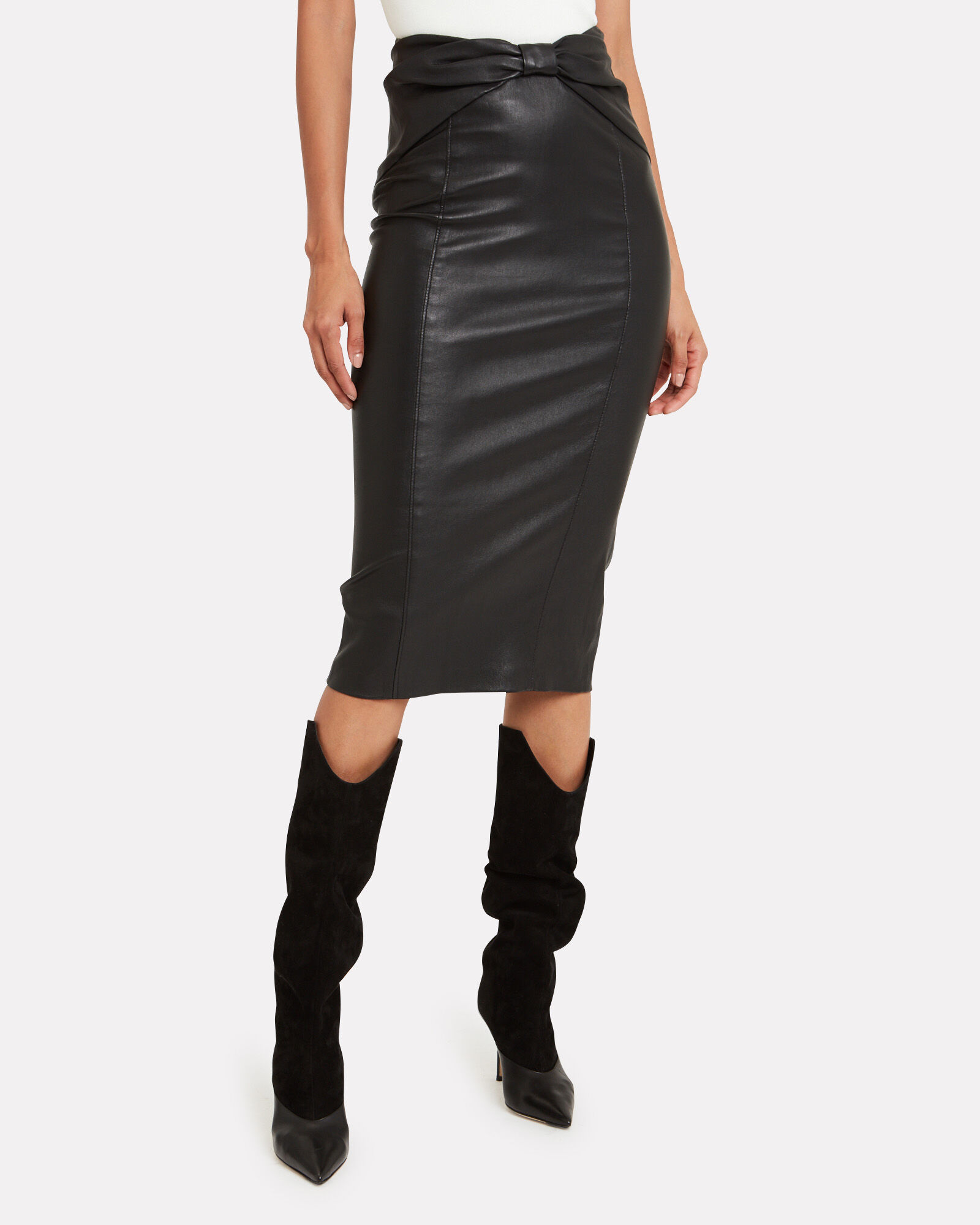 Carlyn Bow Waist Leather Skirt, BLACK, hi-res