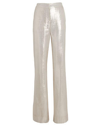 Lamé Wide-Leg Pants, IVORY, hi-res