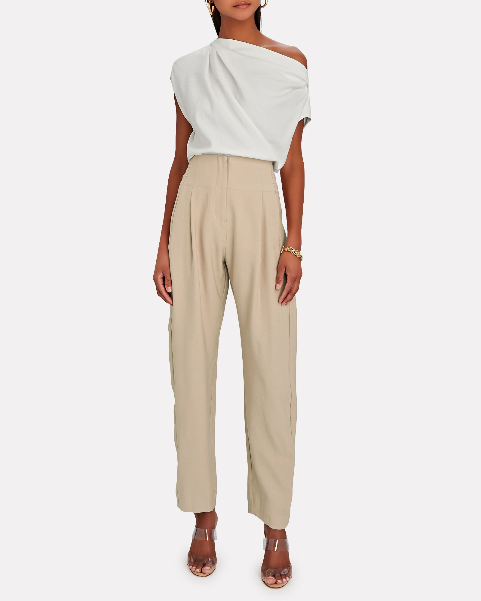 Pleated High-Rise Trousers, BEIGE, hi-res