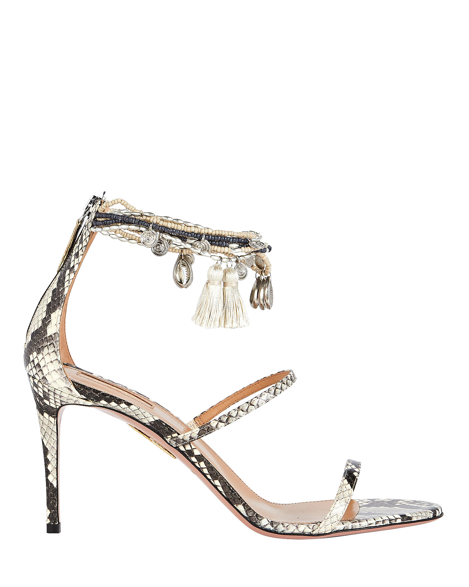 Beaded Python-Embossed Sandals, GREY PYTHON, hi-res