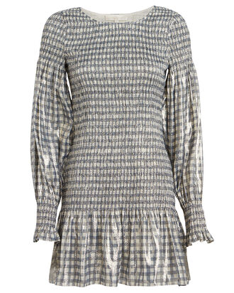 Smocked Metallic Gingham Dress, GREY GINGHAM, hi-res