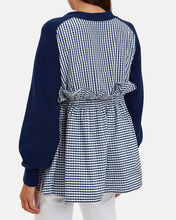 Ruched Parachute Gingham Cardigan, NAVY, hi-res