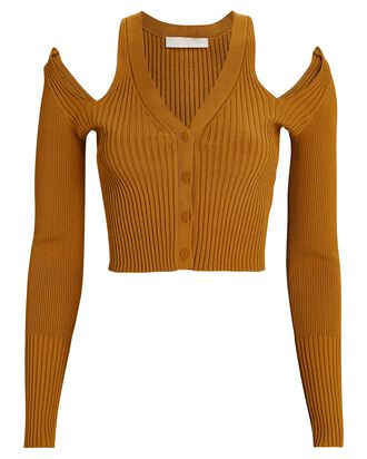 Jolie Cold-Shoulder Cardigan, ORANGE, hi-res