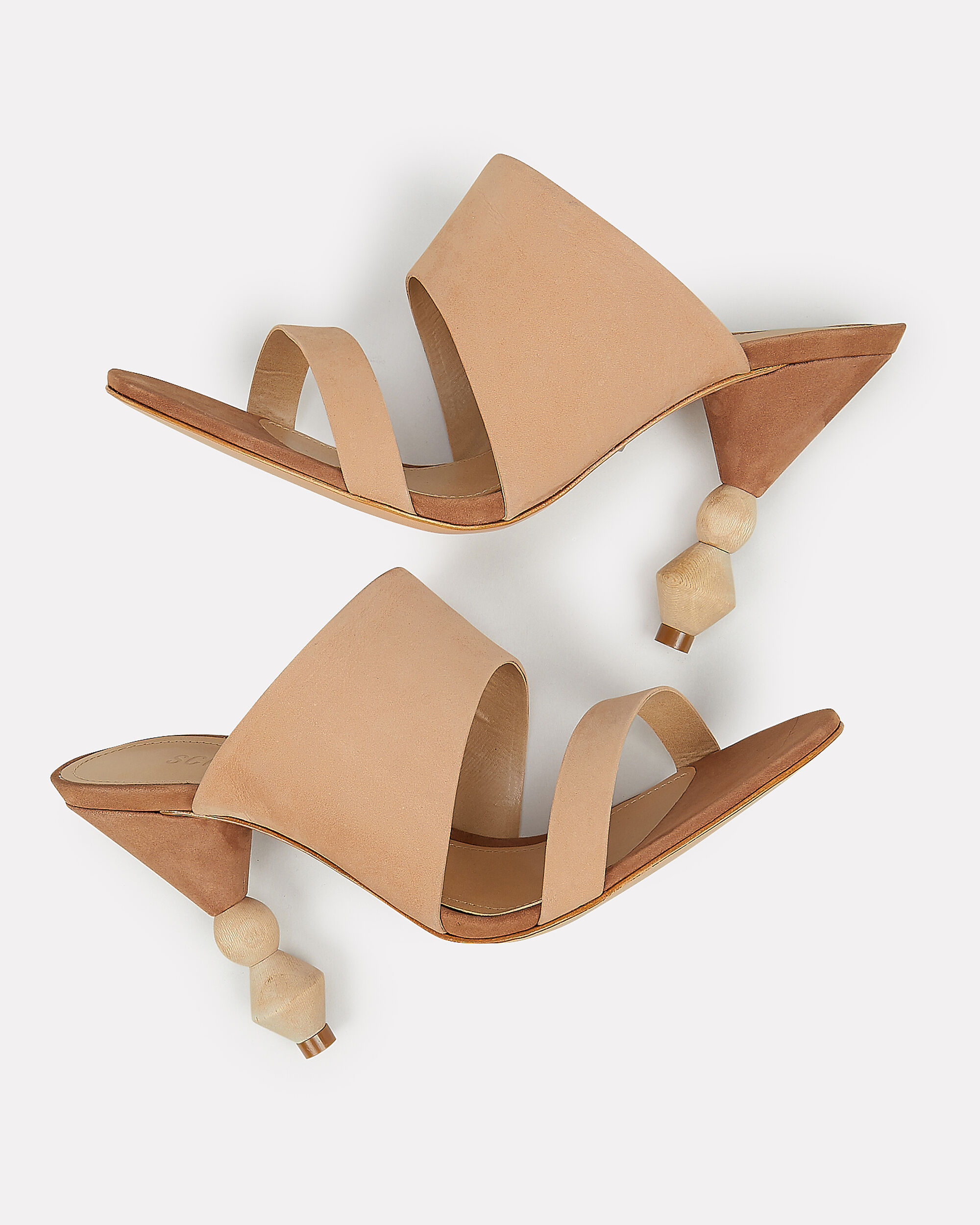 Tosca Wood Heel Slides, BEIGE, hi-res