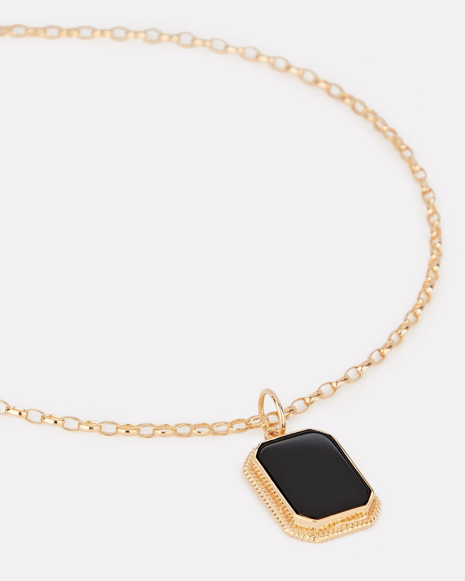Onyx Cable Chain Pendant Necklace, GOLD, hi-res