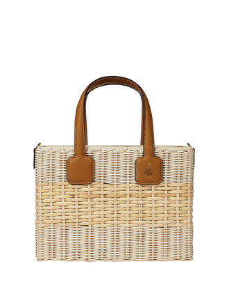 Manray Small Rattan Drawstring Bag, BEIGE, hi-res