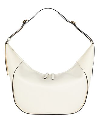 Lois Slouchy Leather Messenger Bag, WHITE, hi-res