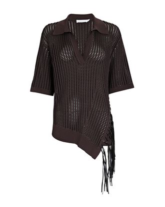 Melina Fringed Pointelle Polo Top, BROWN, hi-res