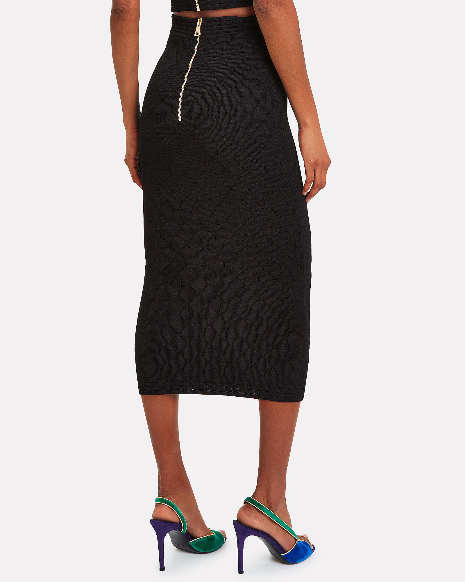 Button Embellished Diamond Knit Skirt, BLACK, hi-res