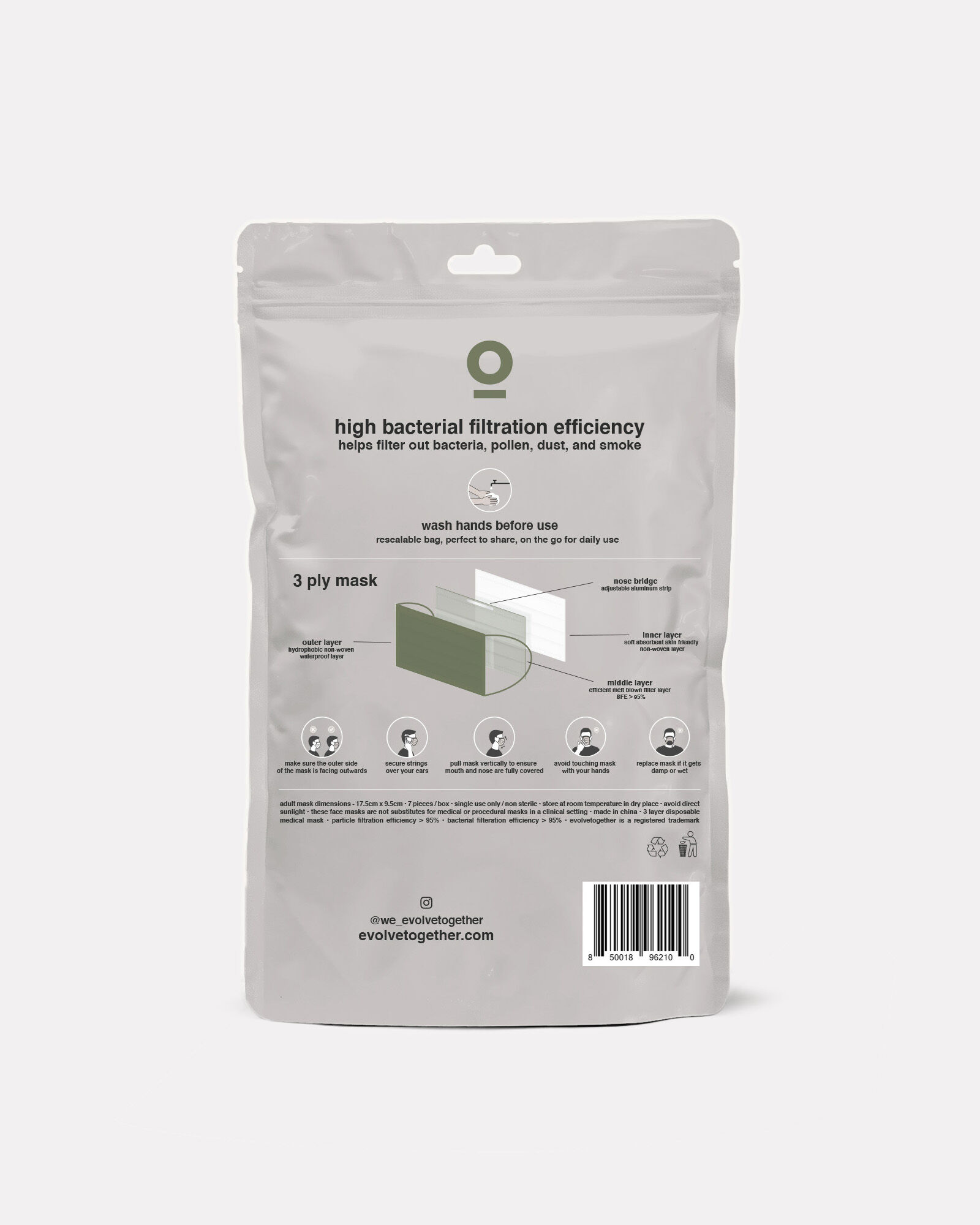 Disposable Face Mask 7-Pack, GREEN, hi-res