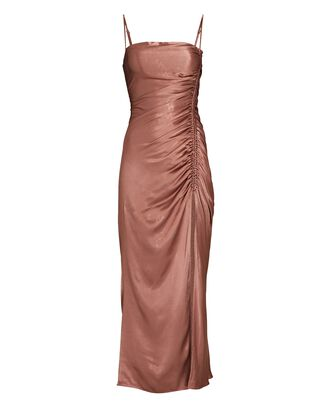 Lily Ruched Sleeveless Midi Dress, BROWN, hi-res