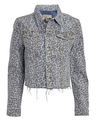 Cara Wild Cat Cropped Denim Jacket, GREY LEOPARD PRINT, hi-res