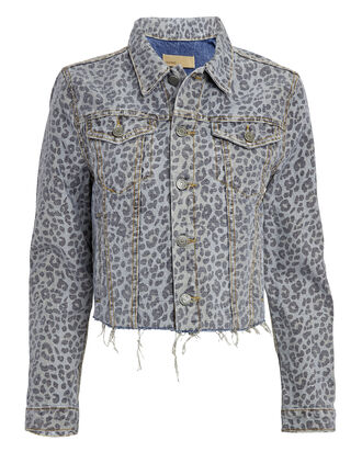 Cara Leopard Print Denim Jacket, DENIM, hi-res