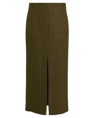 Wool-Blend Pencil Skirt, OLIVE GREEN, hi-res