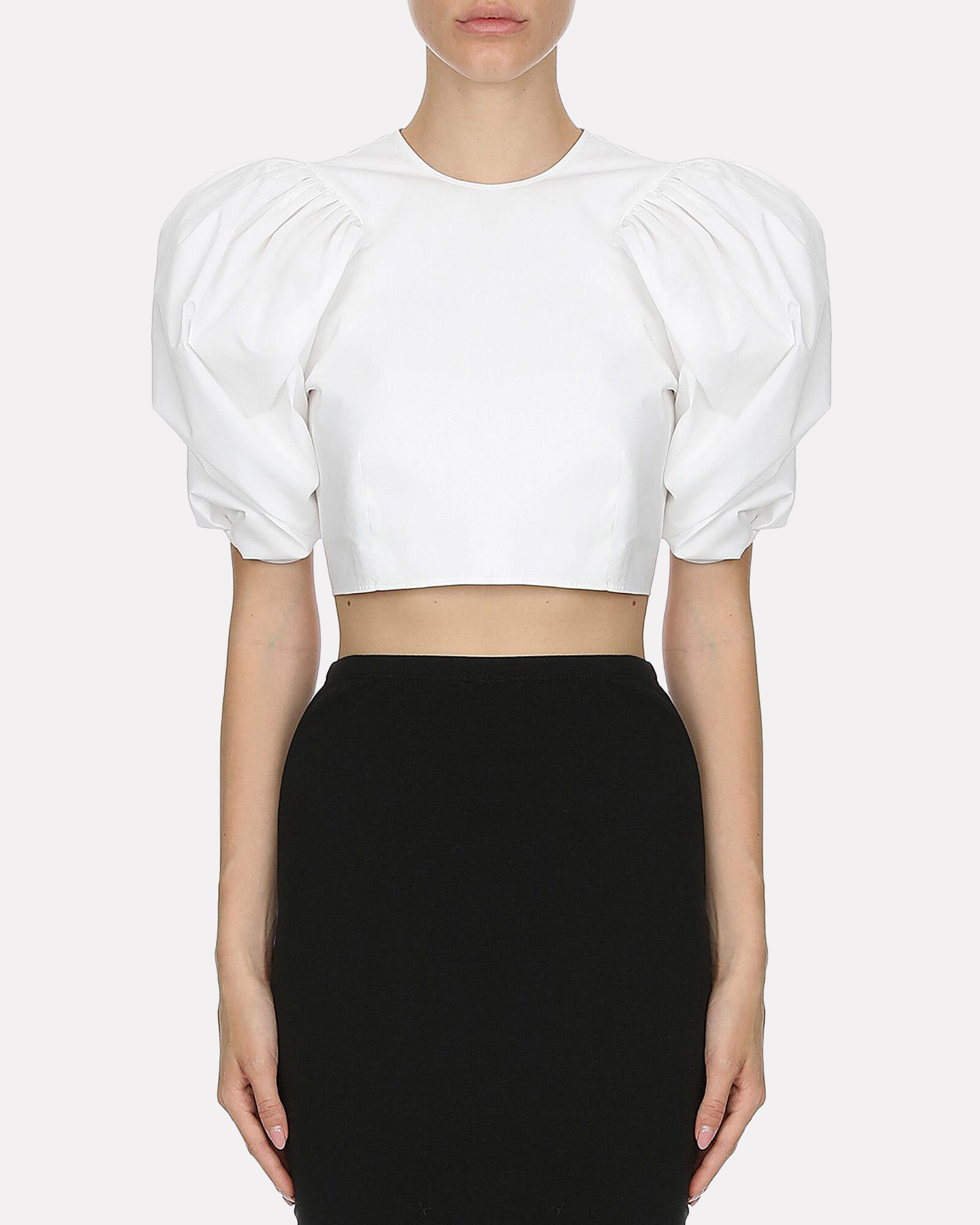 Poplin Cropped Puff Sleeve Top, WHITE, hi-res