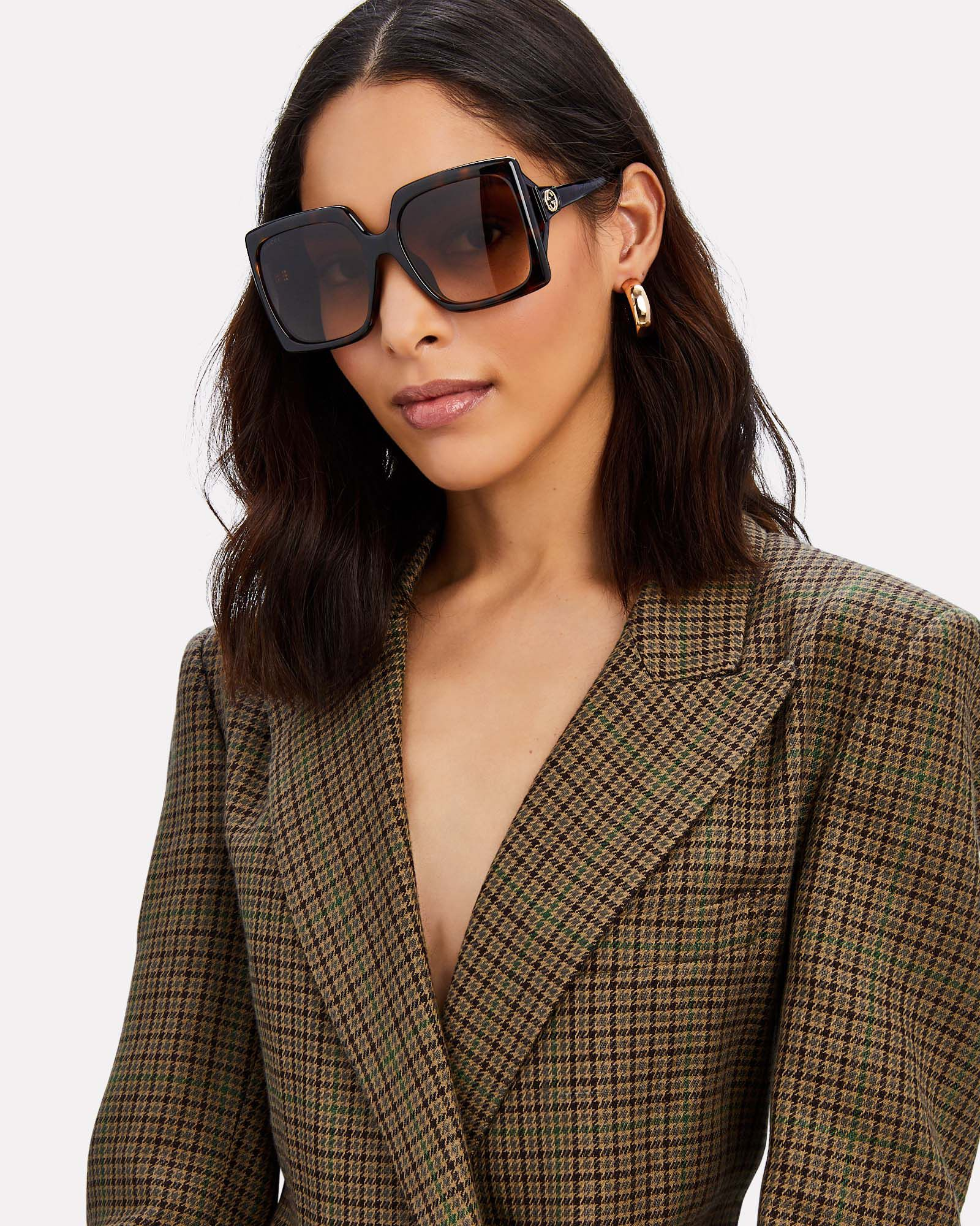 Oversized Square Sunglasses, BROWN, hi-res