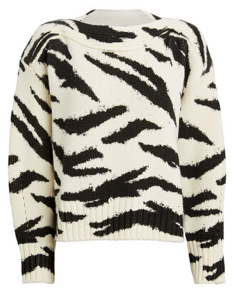 Zebra Merino Wool Sweater, BLACK/WHITE, hi-res