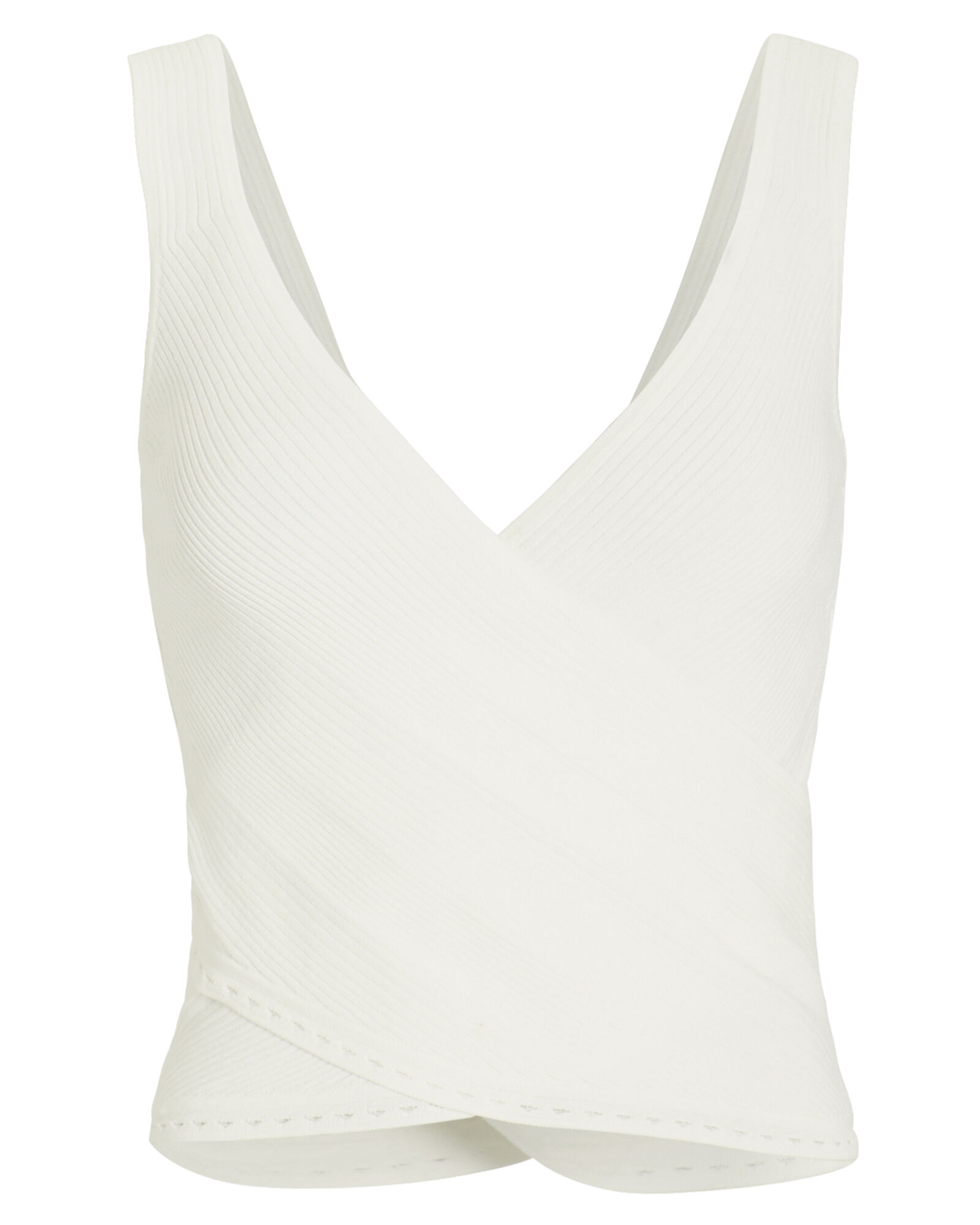 Crossover Rib Knit Tank Top, WHITE, hi-res