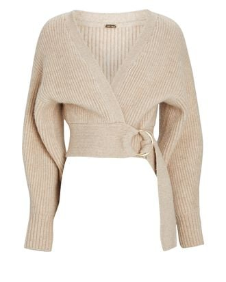 Tully Belted Wrap Cardigan, BEIGE, hi-res