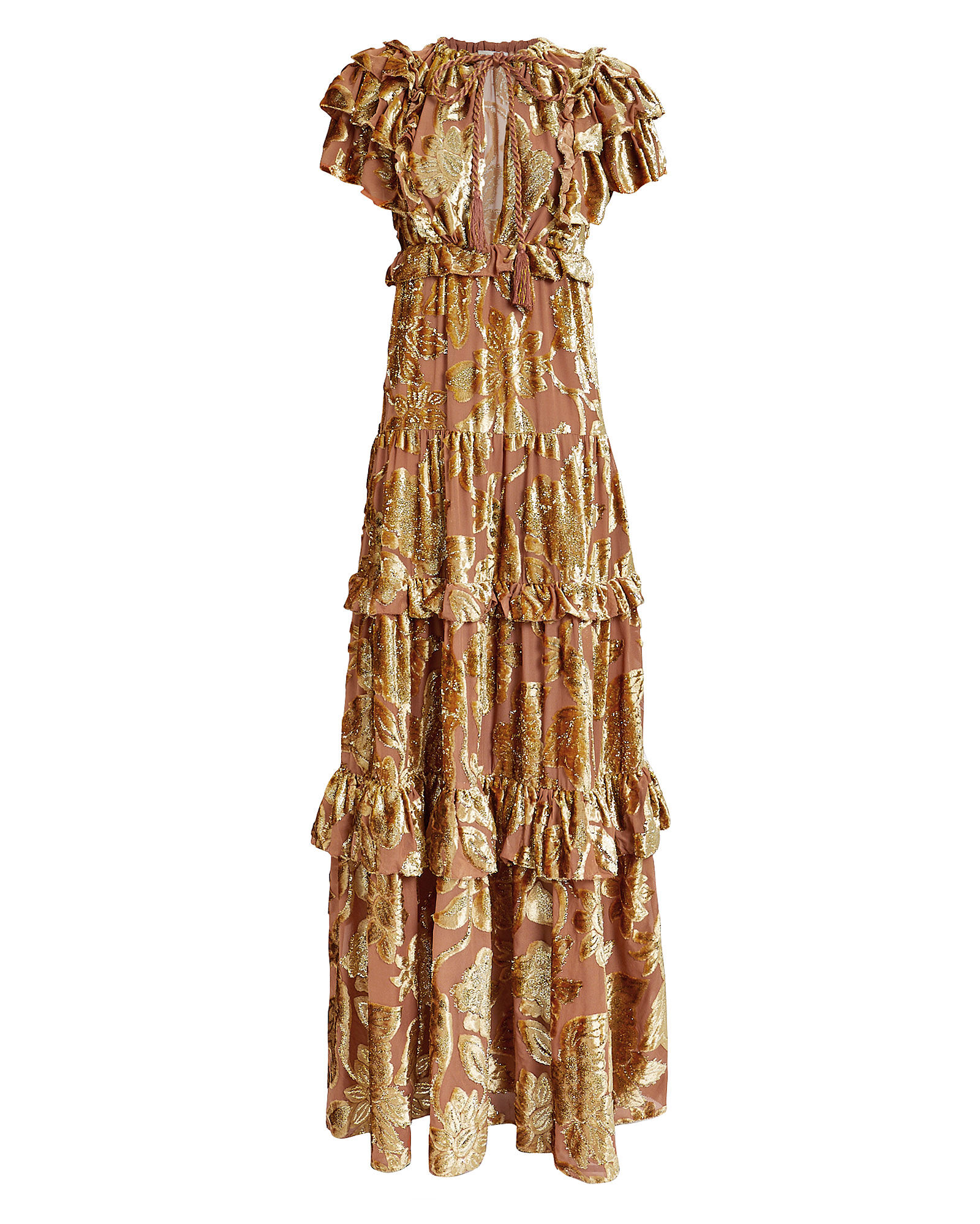 Antonia Ruffled Devoré Gown, GOLD, hi-res