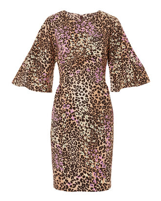 Flutter Sleeve Leopard Dress, MULTI, hi-res