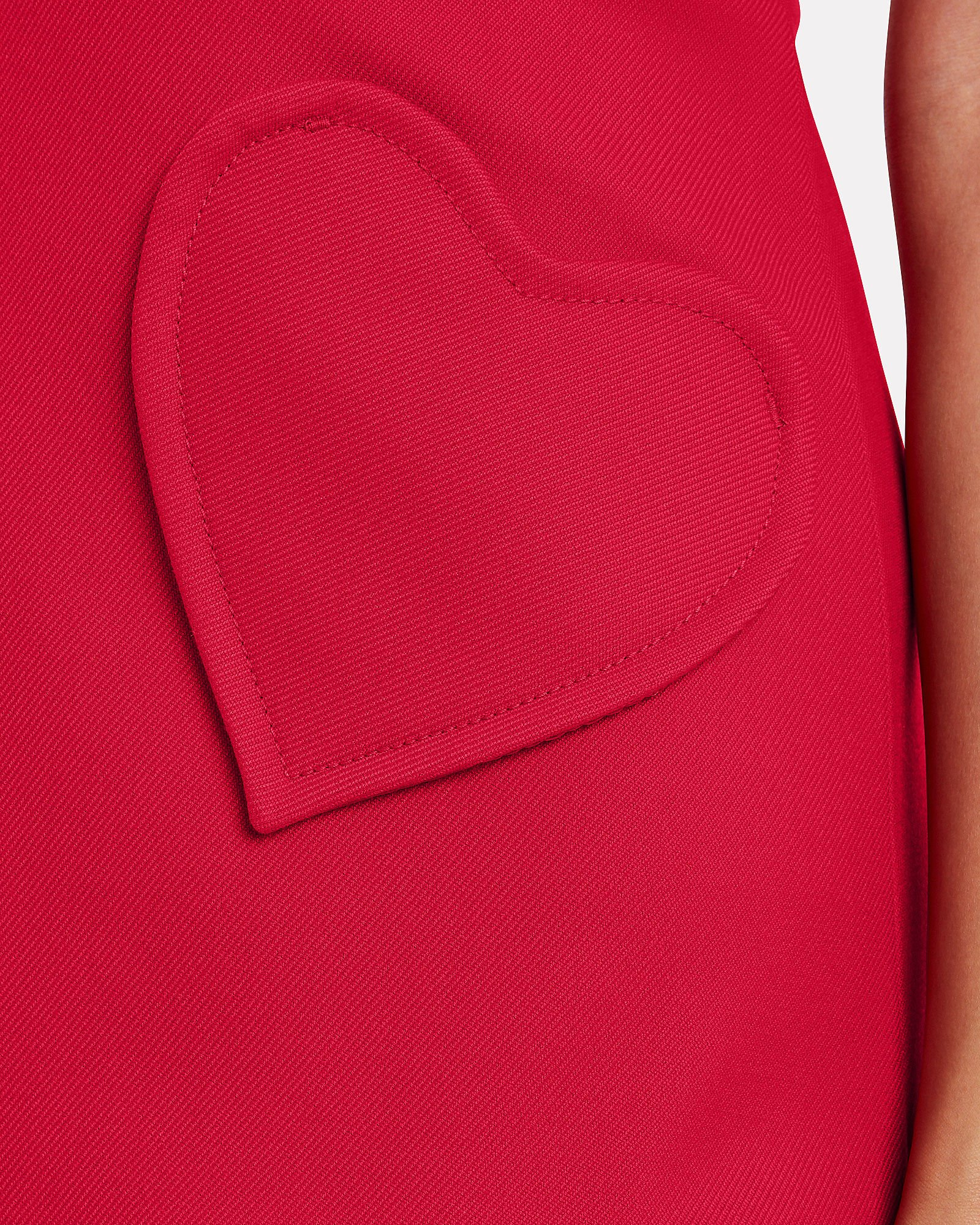 Heart Pocket Shift Dress, RED, hi-res