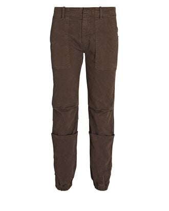 Cropped French Military Pants, BROWN, hi-res