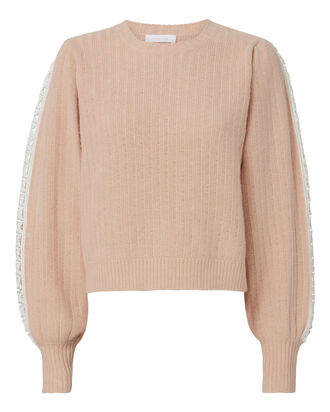 Crochet Detail Pullover, NUDE, hi-res