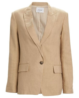 Single-Breasted Canvas Blazer, BEIGE, hi-res