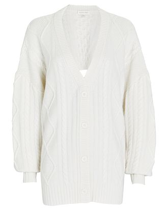 Selas Open Back Cable Knit Cardigan, IVORY, hi-res
