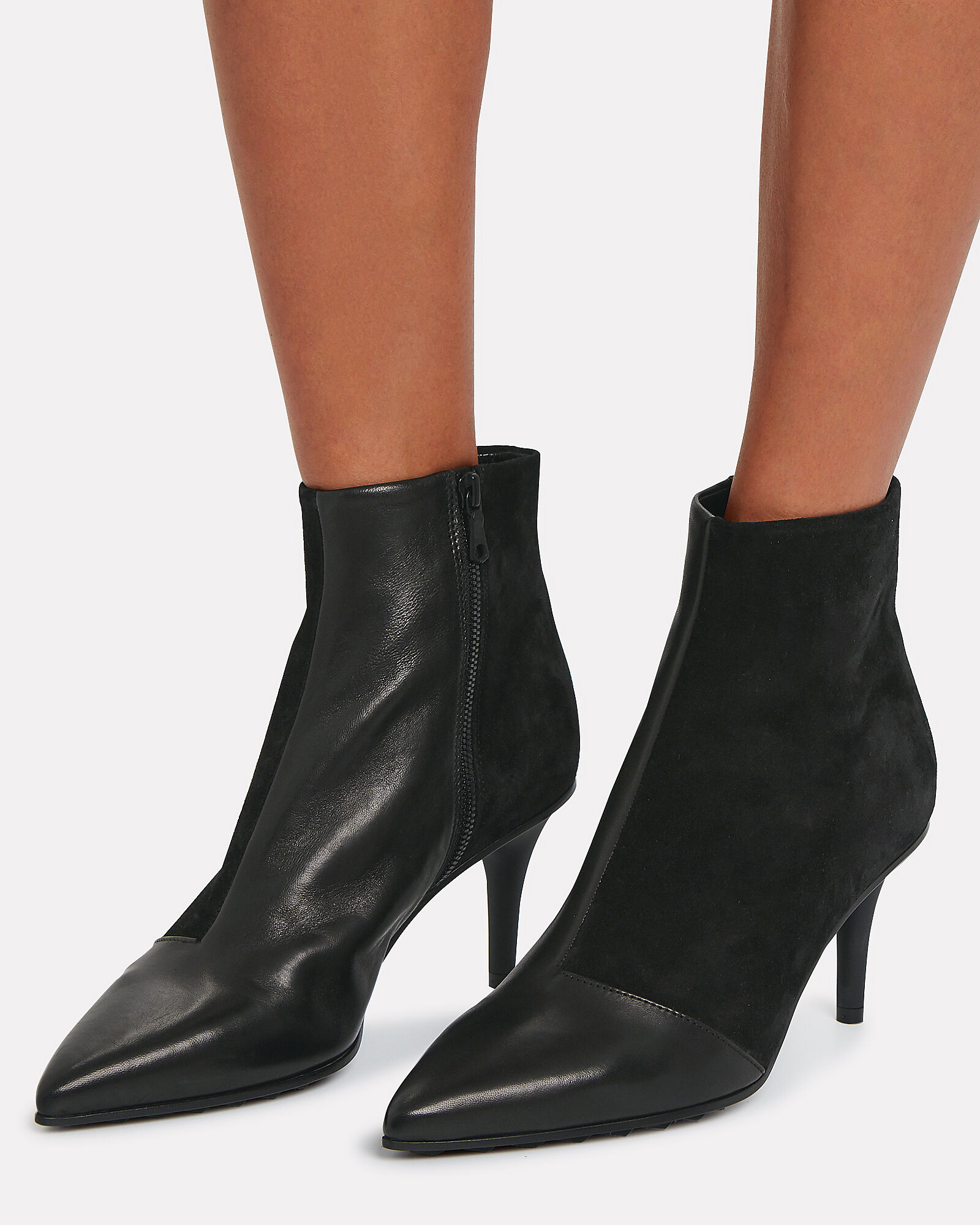 Beha Leather & Suede Moto Booties, BLACK, hi-res