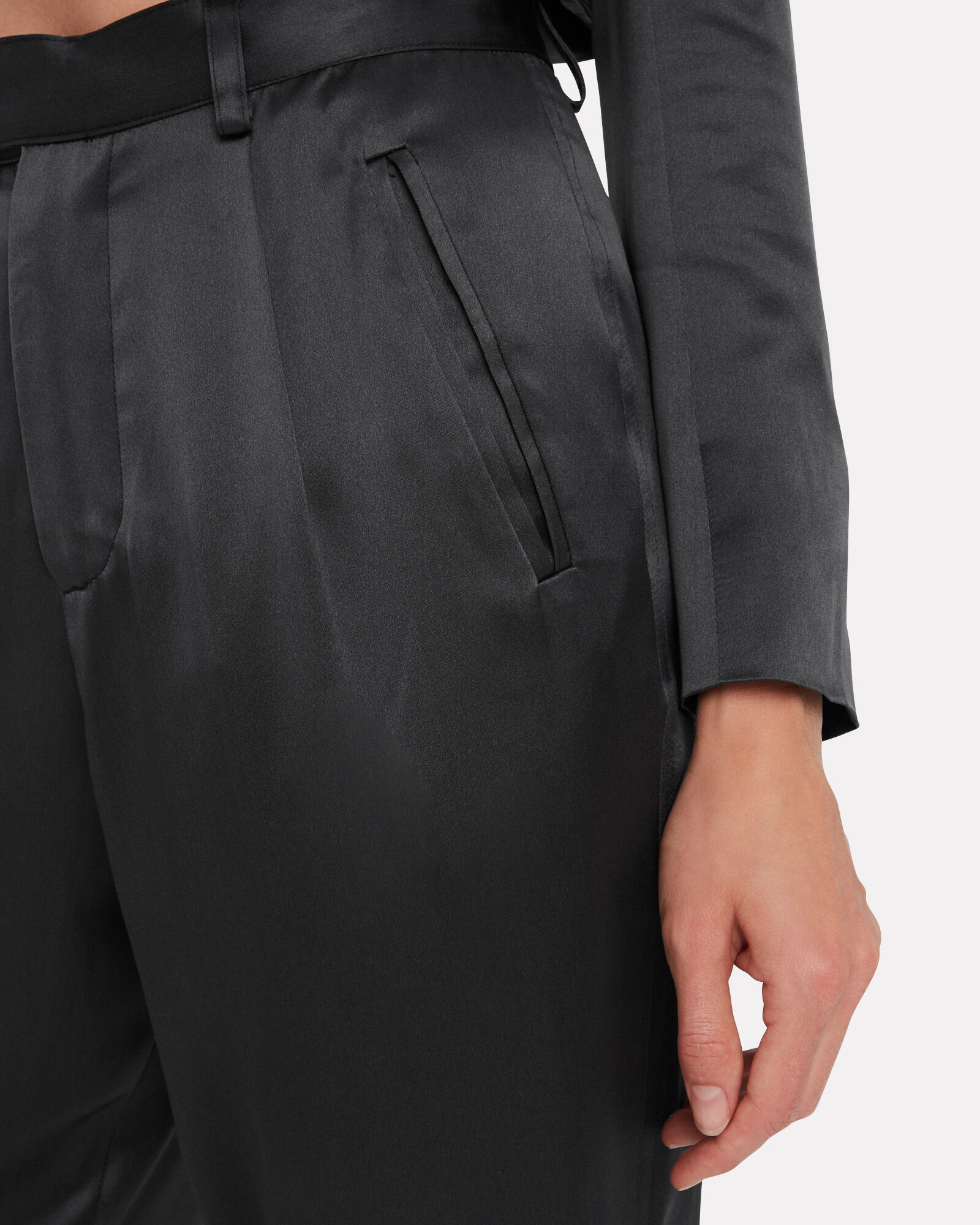 Silk Tapered Cropped Trousers, BLACK, hi-res