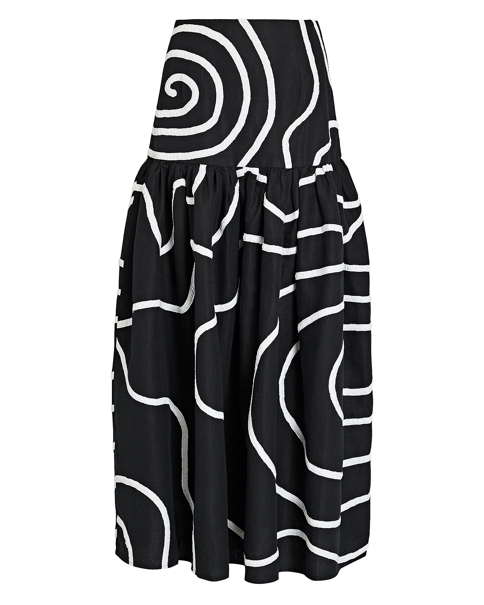 Linni Cotton-Linen Maxi Skirt, BLACK/WHITE, hi-res