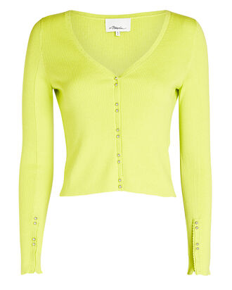 Picot Stitch Cotton-Wool Cardigan, NEON GREEN, hi-res