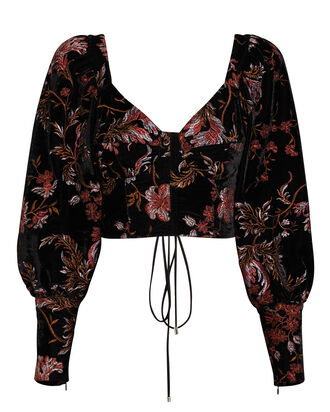 Vera Floral Embroidered Velvet Top, BLACK, hi-res