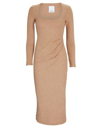 Highfield Knit Midi Dress, BEIGE, hi-res