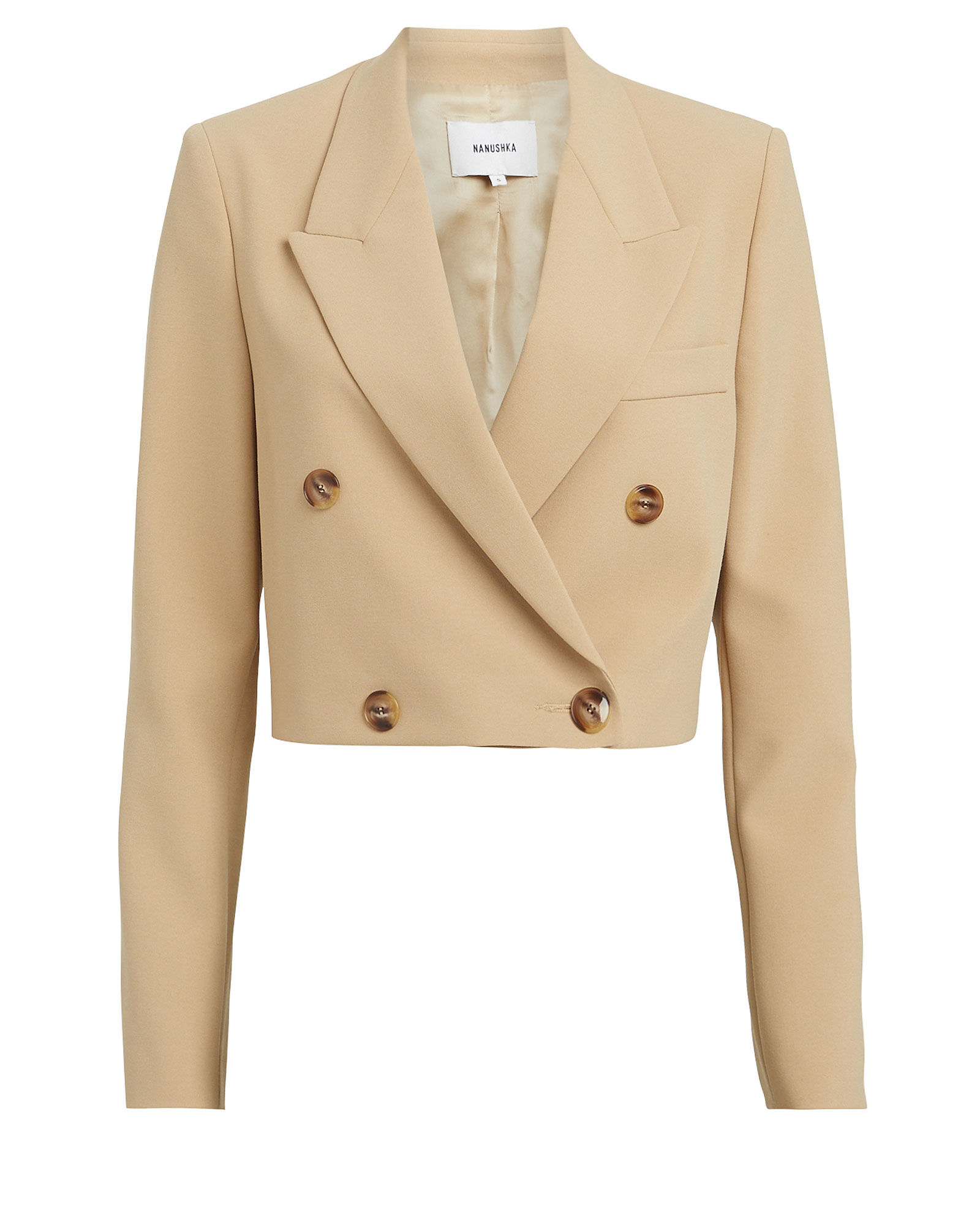 Moscot Cropped Double-Breasted Blazer, BEIGE, hi-res