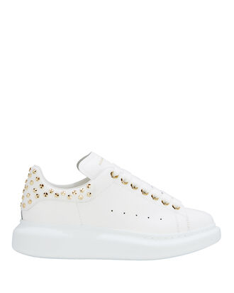 Stud Detail Low-Top Sneakers, WHITE, hi-res