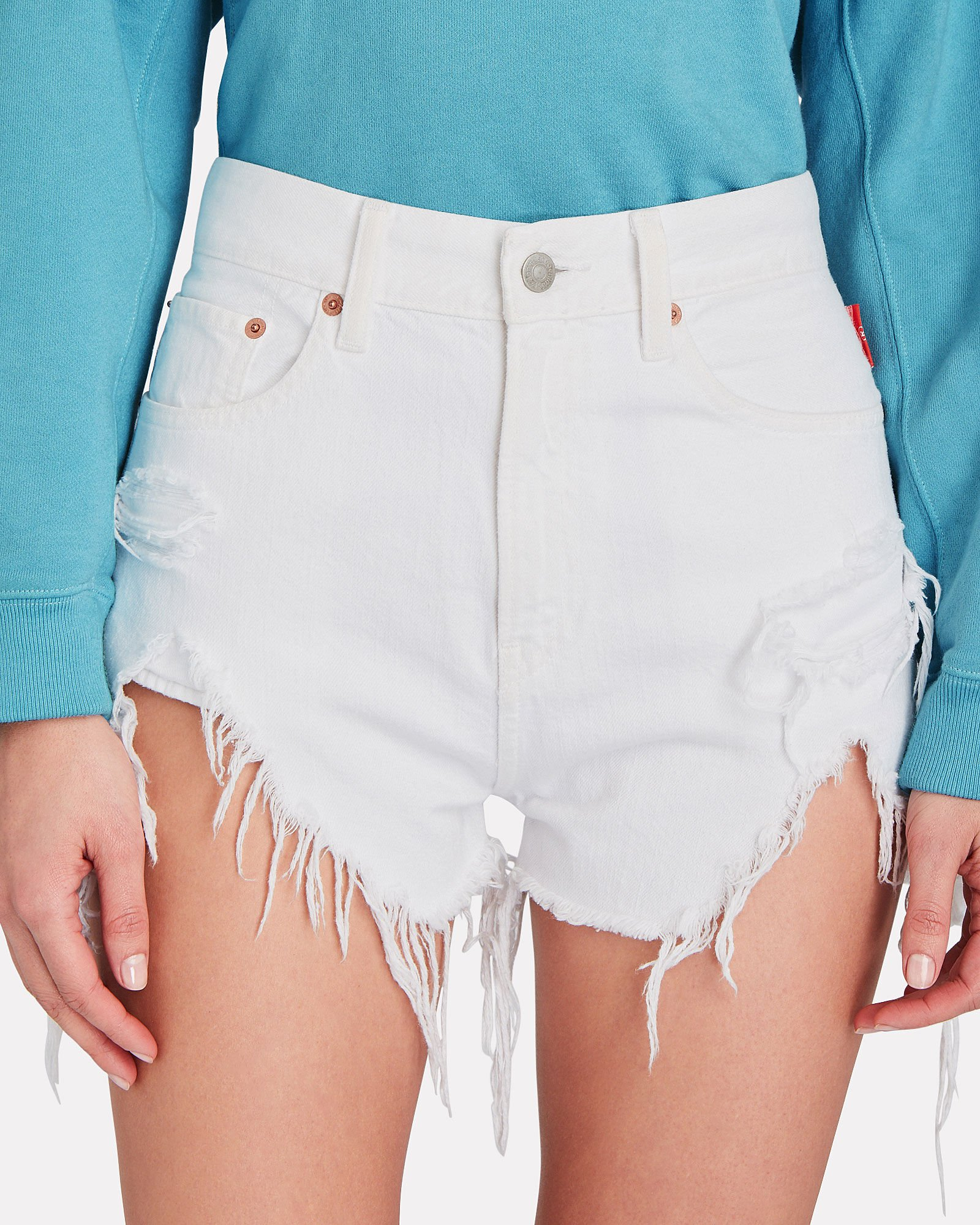 Nic High-Rise Distressed Shorts, WHITE, hi-res