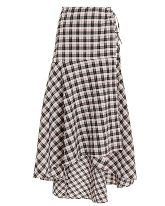 Checked Wrap Midi Skirt, PINK, hi-res