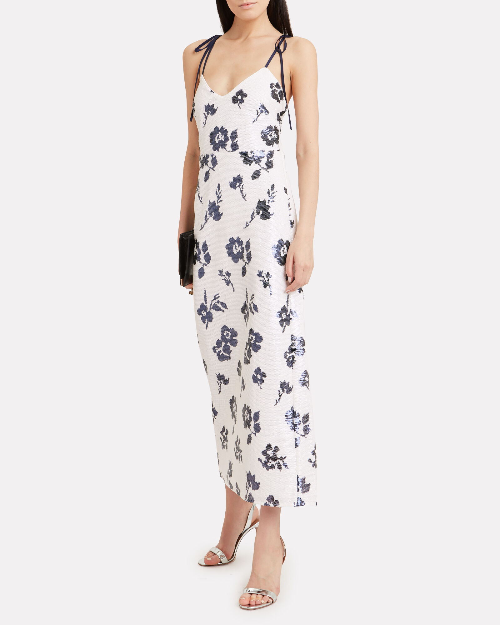 Sequin Floral Maxi Dress, WHITE/FLORAL, hi-res