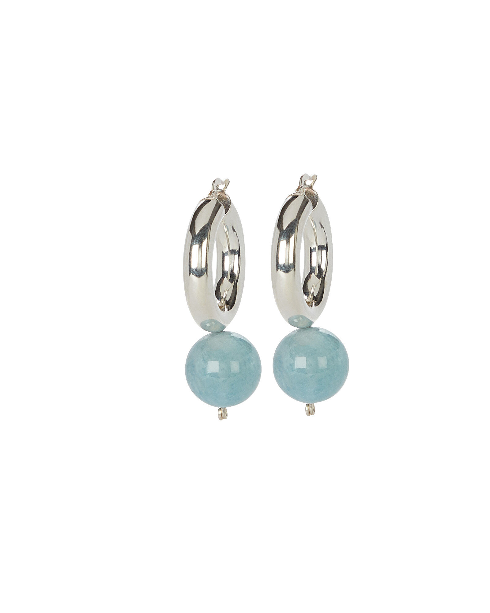 Agra Drop Aquamarine Hoops, AQUAMARINE/SILVER, hi-res
