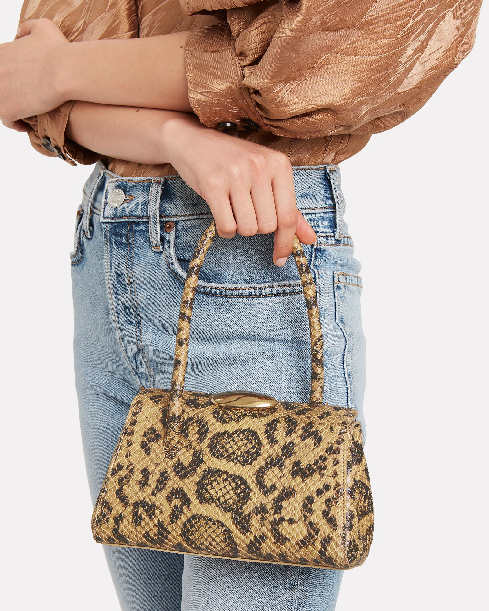 Baby Boss Snake-Embossed Leather Bag, TAN/PYTHON, hi-res