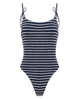 Micki Tie Strap One Piece Swimsuit, NAVY/WHITE, hi-res