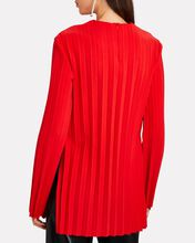 Pleated Crepe Top, RED, hi-res