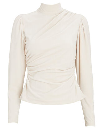Joss Corduroy High Neck Top, IVORY, hi-res