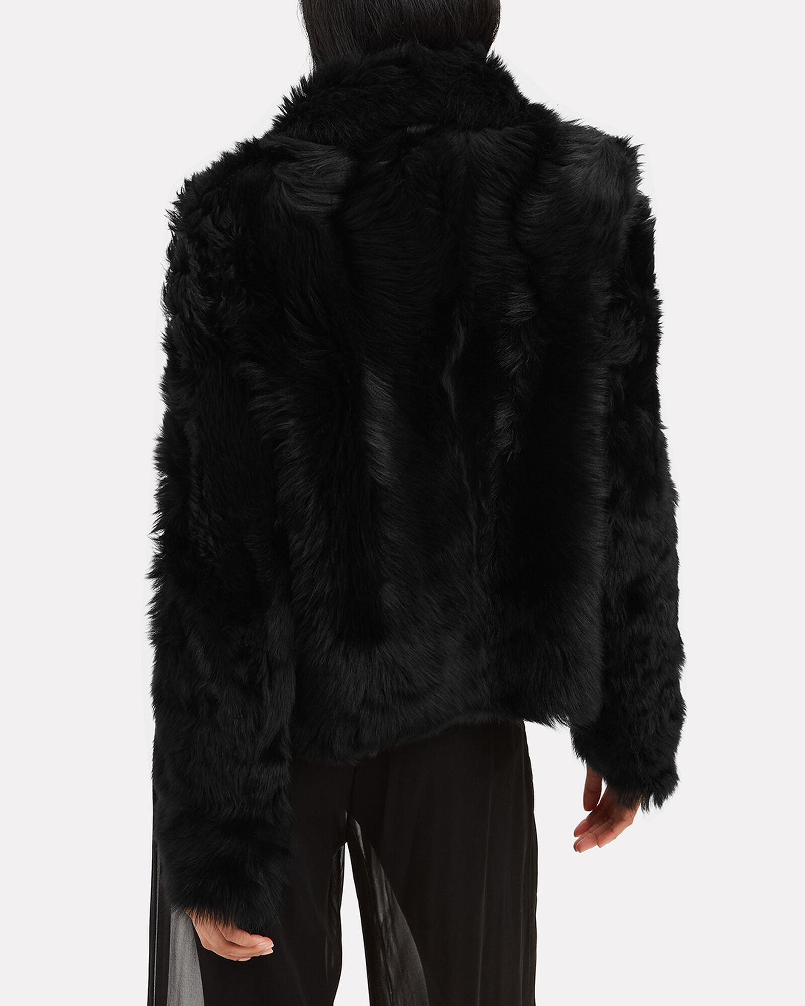 Reversible Black Shearling Coat, BLACK, hi-res