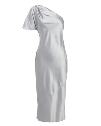 One Shoulder Midi Dress, SILVER, hi-res