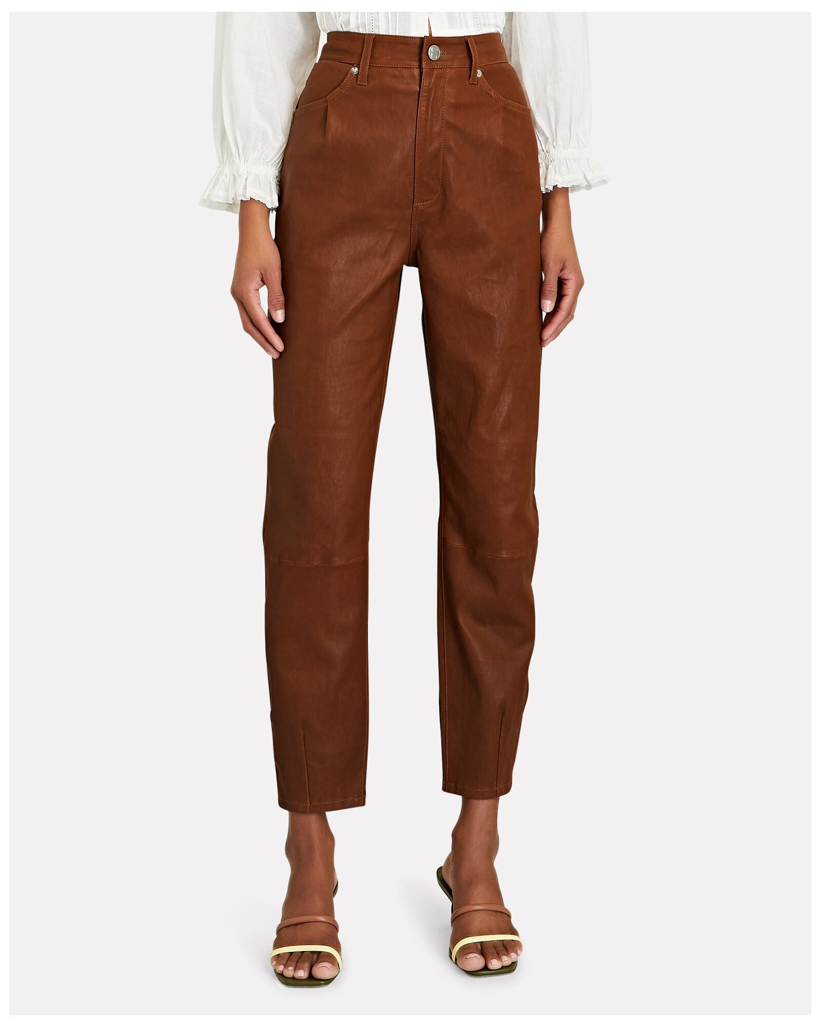 High-Rise Leather Trousers, BROWN, hi-res