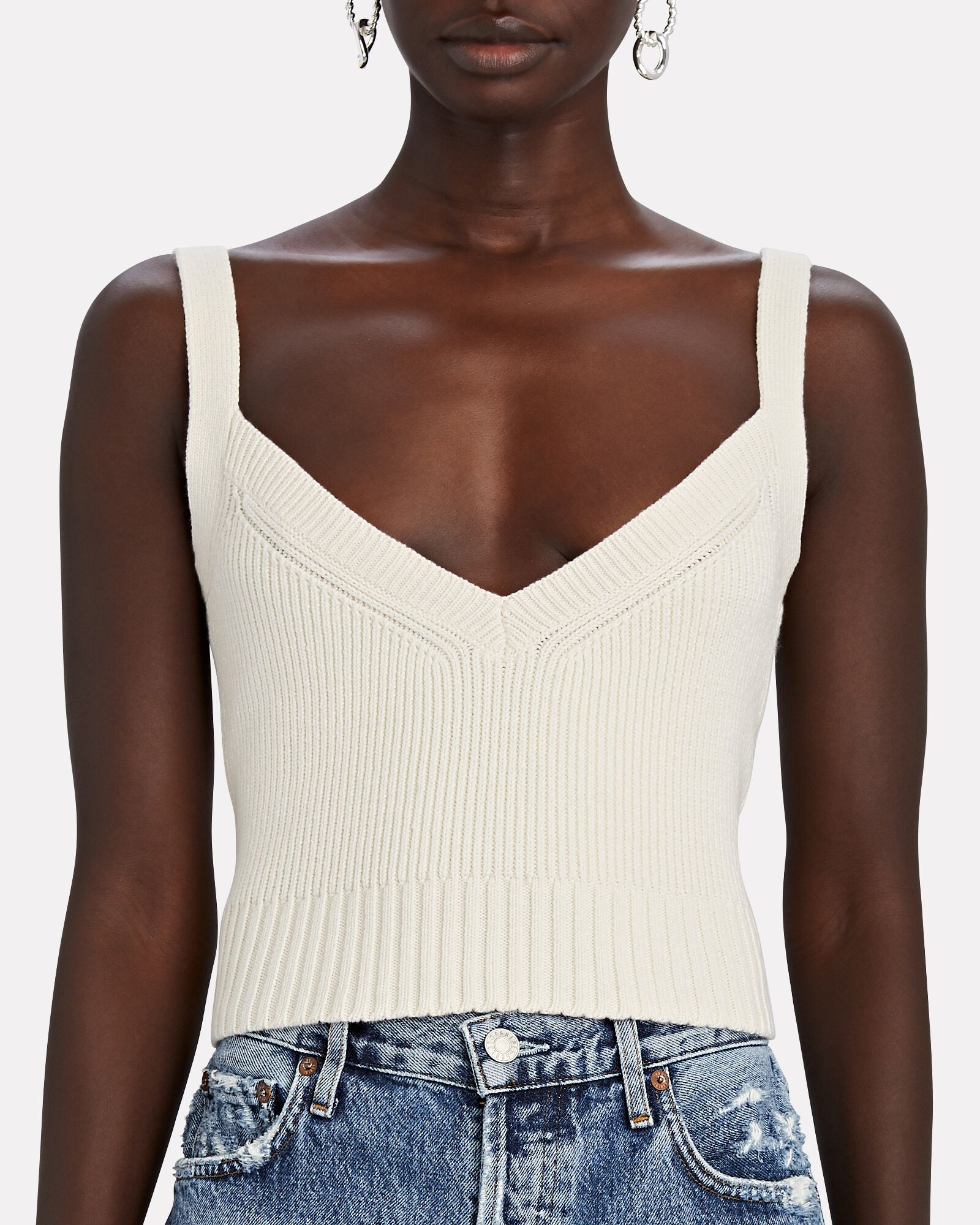 Tristian Knit Tank Top, IVORY, hi-res